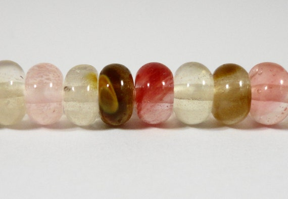 "Quartz Gemstone Beads 6x4mm (4x6mm) Watermelon Tourmaline Quartz Rondelle Stone Beads for Jewelry Making on a 7 1/4"" Strand with 46 Beads"