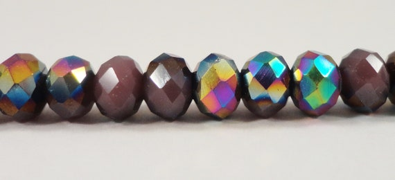 "Rondelle Crystal Beads 6x4mm Opaque Purple Half Metallic Rainbow AB Rondelle Beads, Chinese Crystal Glass Beads on a 9"" Strand with 50 Beads"