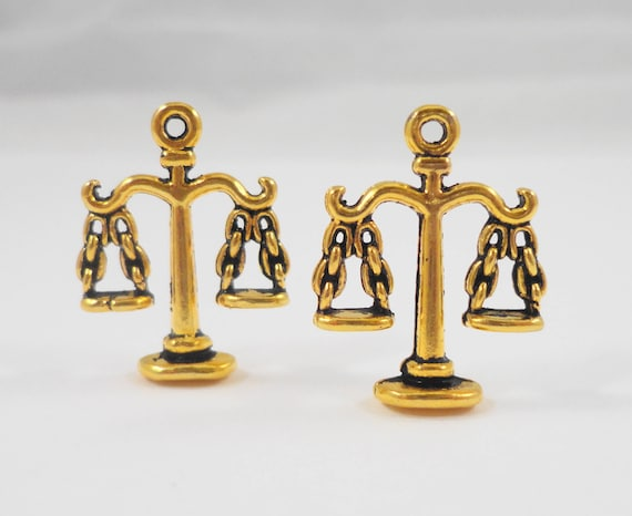 Gold Scale Charms 21x18mm Antique Gold Scale of Justice Charms, Libra Charms, Gold Metal Charms, 3D Scale Pendants for Jewelry Making  10pcs