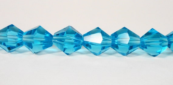 "Bicone Crystal Beads 8mm Aqua Blue Faceted Chinese Crystal Glass Beads for Jewelry Making on a 7 1/2"" Strand with 25 Beads"