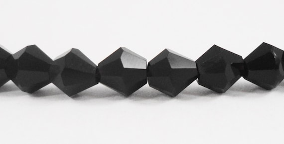 Bicone Crystal Beads 4mm Opaque Black Crystal Beads Small Faceted Chinese Crystal Glass Beads for Jewelry Making 100 Loose Beads per Package