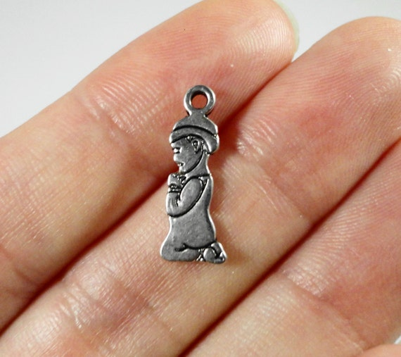 Praying Boy Charms 18x6mm Antique Silver Praying Boy Pendant, Prayer Charms, People Charms, Praying Charms, Metal Charms for Jewelry, 10pcs