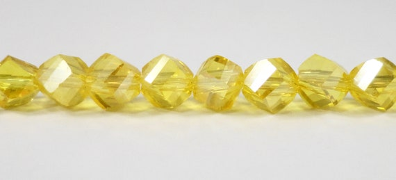 "Helix Crystal Beads 6mm Citrine Yellow AB Crystal Beads, Faceted Polygon Beads, Chinese Crystal Glass Beads on a 7 1/4"" Strand with 33 Beads"