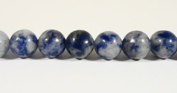 """Sodalite Gemstone Beads 6mm Round White and Blue Stone Beads, Natural Gemstone Beads for Jewelry Making on a 7 1/2"""" Strand with 31 Beads"""