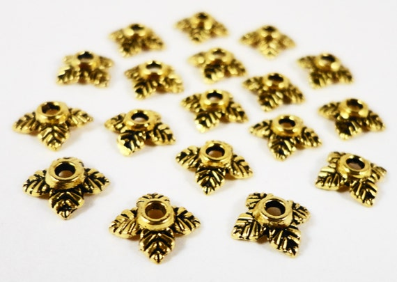 Gold Bead Caps 6mm Antique Gold Metal Leaf Bead Cap Beadcap End Cap Jewelry Making Jewelry Findings Craft Supplies 75pcs