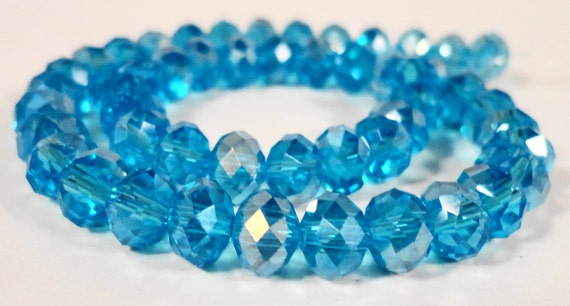 """Rondelle Crystal Beads 6x4mm (4x6mm) Aqua Blue AB Faceted Chinese Crystal Glass Beads for Jewelry Making on a 9"""" Strand with 50 Beads"""
