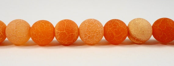 "Orange Agate Beads 8mm Round Agate Gemstone Beads, Tangerine Orange Beads, Frosted Agate Stone Beads on a 7 1/4"" Strand with 24 Beads"