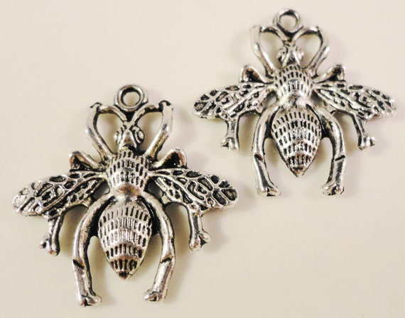 Silver Wasp Charms 26x25mm Antique Silver Bee Charms, Insect Charms, Bug Charms, Wasp Pendants, Charms for Jewelry Making 10pcs