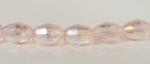 Oval Crystal Beads 6x4mm (4x6mm) Peach Pink AB Faceted Chinese Crystal Beads for Jewelry Making 50 Loose Beads per Pack