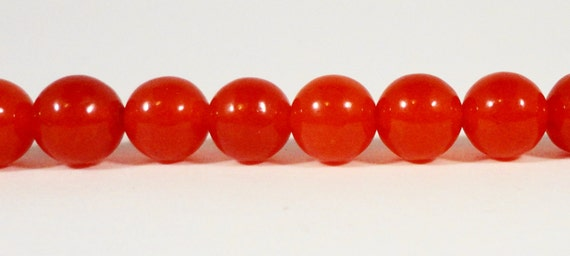 Red Jade Gemstone Beads 6mm Round Light Red (Dyed) Candy Jade Mountain Jade Stone Beads for Jewelry Making on a 7 Inch Strand with 30 Beads