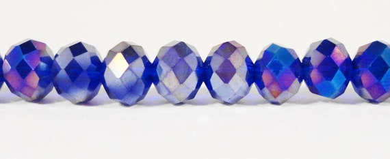 """Blue Rondelle Crystal Beads 8x6mm (6x8mm) Royal Blue AB Faceted Chinese Crystal Beads for Jewelry Making on an 8"""" Strand with 35 Beads"""