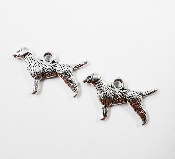 Labrador Retriever Charms 20x16mm Antique Silver Dog Charms, Labrador Charms, Double Sided Dog Pendants, Pet Charms, Metal Charms, 10pcs