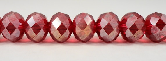 "Red Crystal Beads 10x8mm (8x10mm) Dark Red AB Crystal Rondelle Beads, Faceted Chinese Crystal Glass Beads on a 7 1/4"" Strand with 24 Beads"