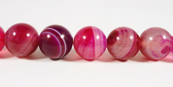 Pink Striped Agate Gemstone Beads 10mm Round Fuchsia Pink Dyed Agate Stone Beads for Jewelry Making on a 7 1/4 Inch Strand with 18 Beads