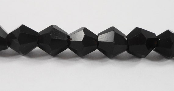 """Black Bicone Crystal Beads 6mm Crystal Beads, Beading Supplies, Opaque Black Chinese Crystal Glass Beads on an 11"""" Strand with 50 Beads,"""