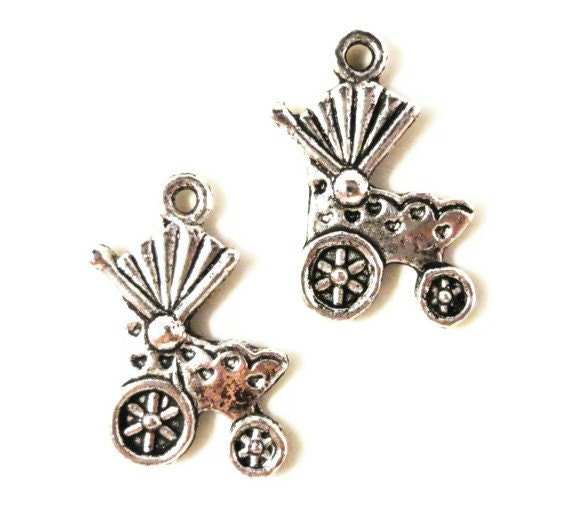 Baby Carriage Charms 19x13mm Antique Silver Stroller Charms Baby Carriage Pendant Baby Buggy Charms Jewelry Making Craft Supplies 10pcs