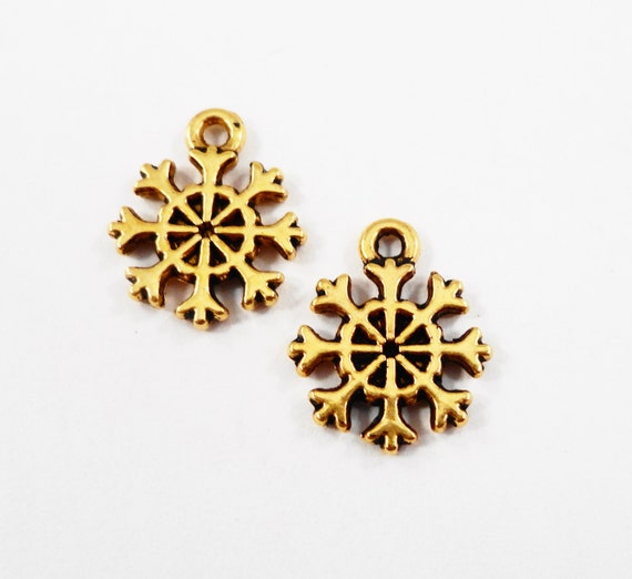 Gold Snowflake Charms 13x10mm Antique Gold Snowflake Pendants, Winter Charms, Christmas Charms, Small Snow Charms, Metal Charms, 10pcs
