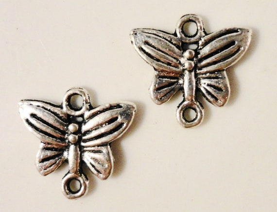 Butterfly Connector Charms 13x14mm Antique Tibetan Silver Metal Butterfly Earring Connector Pendant Jewelry Making Findings 10pcs