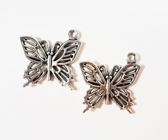 Silver Butterfly Charms 20x19mm Antique Tibetan Silver Metal Butterfly Pendant Charm Jewelry Making Jewelry Findings Craft Supplies 10pcs