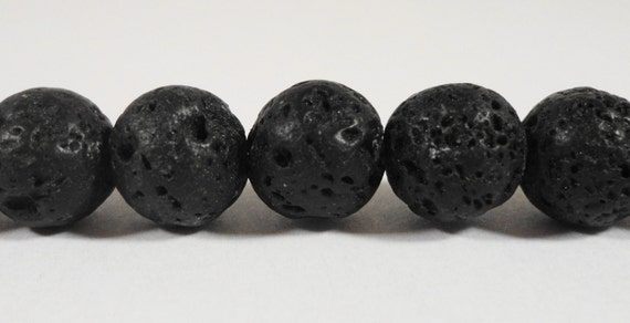 Lava Rock Beads 10mm Round Natural Volcano Rock Beads, Matte Black Gemstone Beads, Black Stone Beads on a 7 Inch Strand with 18 Beads