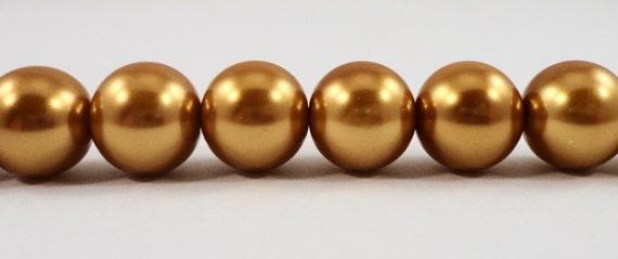 "10mm Glass Pearl Beads 10mm Round Dark Gold Glass Pearl Beads, Crystal Pearl Beads for Jewelry Making on a 7 1/2"" Strand with 20 Beads"
