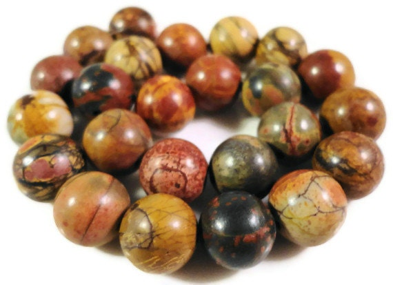 Picasso Jasper Gemstone Beads 8mm Round Red Creek Jasper Natural Multicolor Semiprecious Stone Beads on a 7 1/2 Inch Strand with 23 Beads