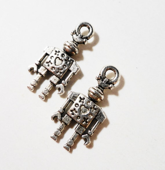 Silver Robot Charms 17x9mm Antique Tibetan Silver Metal Machine Toy Charms, Double Sided Robot Pendant, Jewelry Making, Craft Supplies 10pcs