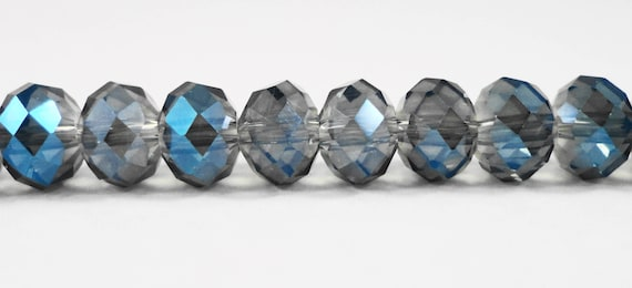 """Rondelle Crystal Beads 8x5mm (5x8mm) Blue Grey AB Crystal Rondelle Beads, Faceted Chinese Crystal Glass Beads on an 8"""" Strand with 35 Beads"""