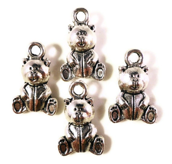 Teddy Bear Charms 15x10mm Antique Silver Metal Small Double Sided Stuffed Animal Bear Toy Charm Pendant Jewelry Making Findings 10pcs
