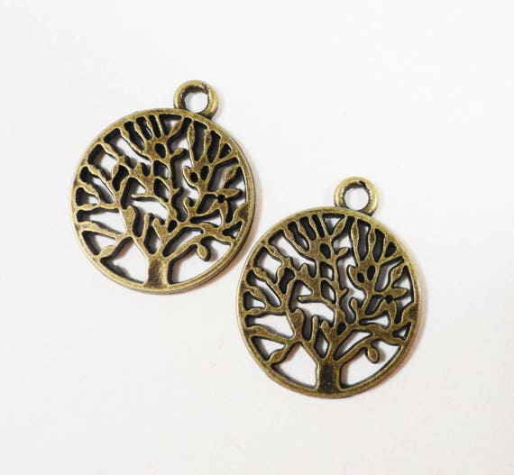 30pcs Bronze Tree of Life Charms 20x15mm Antique Brass Tree Charms, Bronze Tree Charms, Tree of Life Pendants, Wholesale Bulk Metal Charms