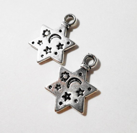 Silver Star Charms 19x12mm Antique Silver Tone Metal Six Pointed Star Celestial Double Sided Charm Pendant Jewelry Findings 10pcs