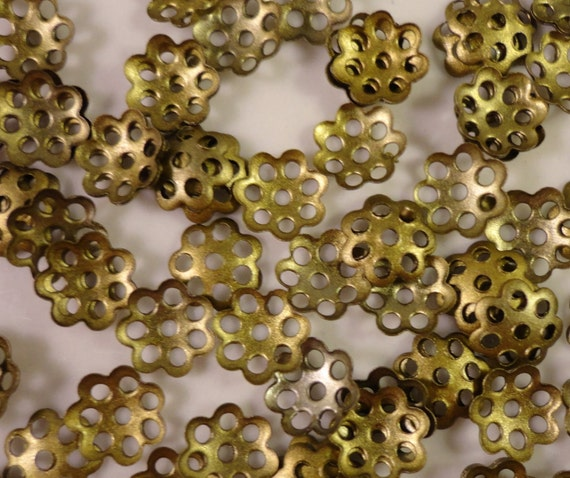 Bronze Bead Caps 6mm Antique Brass Tone Metal Thin Flower Beadcap End Cap Jewelry Making Jewelry Findings Beading Supplies 100pcs