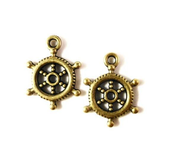 Bronze Shipwheel Charms 20x15mm Antique Brass Tone Metal (Bronze) Ship Wheel Rudder Nautical Charm Pendant Jewelry Making Findings 10pcs
