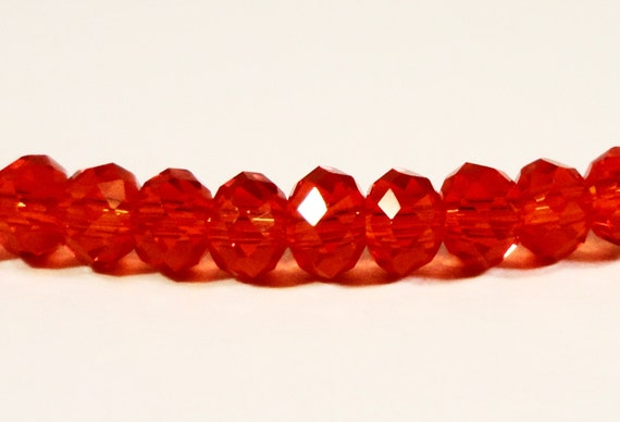 Rondelle Crystal Beads 4x3mm (3x4mm) Red Small Faceted Chinese Crystal Glass Abacus Beads for Jewelry Making 100 Loose Beads per Package
