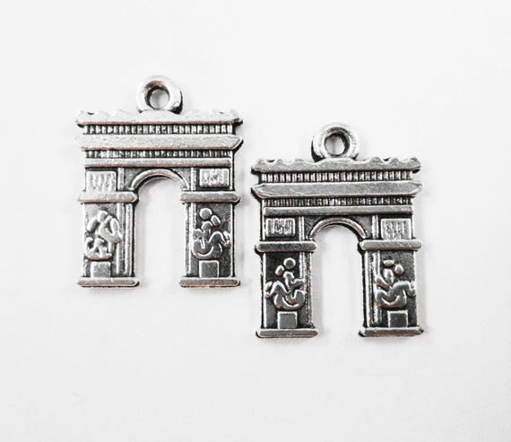 French Arch Charms 17x14mm Antique Silver Arc de Triomphe Pendants, Paris Charms, France Charms, Travel Charms, Metal Tourist Charms, 10pcs
