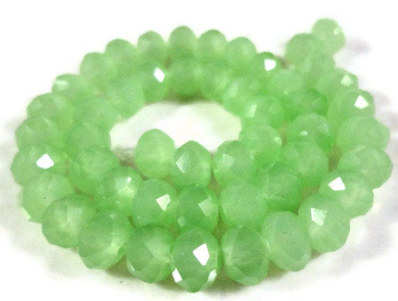 """Green Rondelle Crystal Beads 6x4mm (4x6mm) Opaque Frosted Jade Green Faceted Chinese Crystal Glass Beads on an 8 1/4"""" Strand with 49 Beads"""