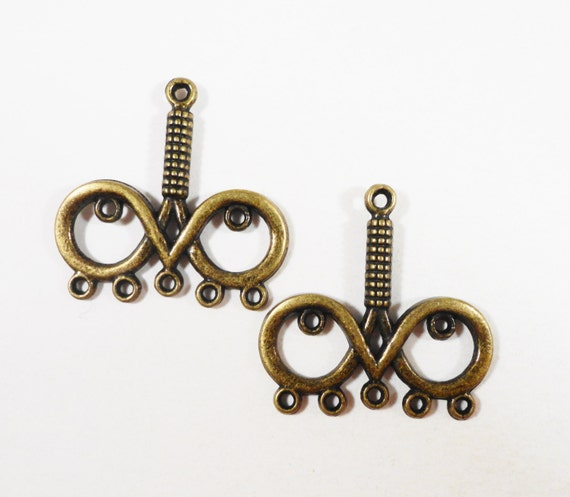 Bronze Chandelier Findings 26x28mm Antique Brass Multi Connector Charms, Chandelier Earring Findings, Earring Connector Pendants, 6pcs
