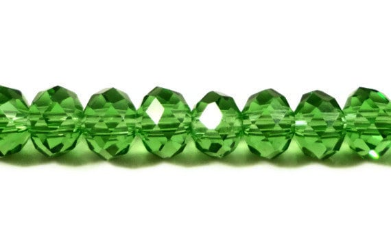 Green Rondelle Crystal Beads 6x4mm (4x6mm) Faceted Chinese Crystal Glass Beads for Jewelry Making on an 8 1/2 Inch Strand with 49 Beads