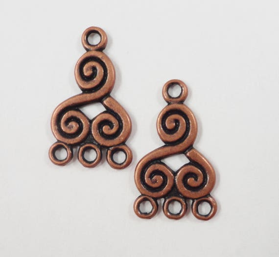 Copper Chandelier Earring Findings 21x13mm Antique Copper Metal Swirl Spiral 3 to 1 Earring Connector Jewelry Making Jewelry Findings 6pcs