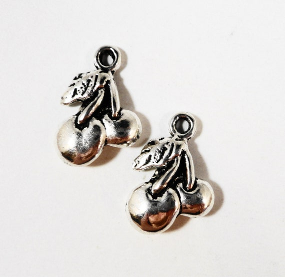 Silver Cherry Charms 18x12mm Antique Silver Metal Cherry Pendant, Fruit Charms, Food Charm, Jewelry Making Findings Craft Supplies 10pcs