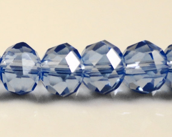 Rondelle Crystal Beads 6x4mm (4x6mm) Medium Periwinkle Blue Chinese Faceted Crystal Glass Abacus Beads on an 8 1/2 Inch Strand with 49 Beads