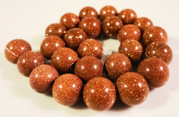 Brown Goldstone Beads 7-8mm Round Sparkly Beads, Man Made Gemstone Beads, Faux Stone Beads on a 7 1/4 Inch Strand with 24 Beads