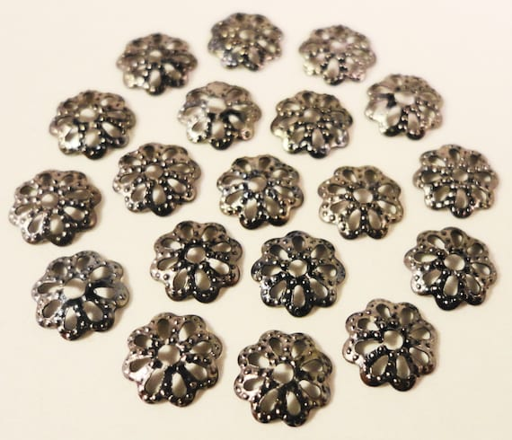 Gunmetal Bead Caps 6mm Metallic Black Tone Metal Thin Textured Flower Beadcap End Cap Jewelry Making Jewelry Findings 100pcs Fits 6mm Beads