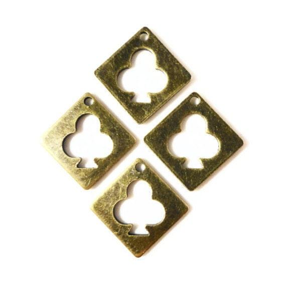 Bronze Club Charms 12x12mm Antique Brass Tone Metal (Bronze) Clover Poker Charm Pendant Drop Jewelry Making Findings 10pcs