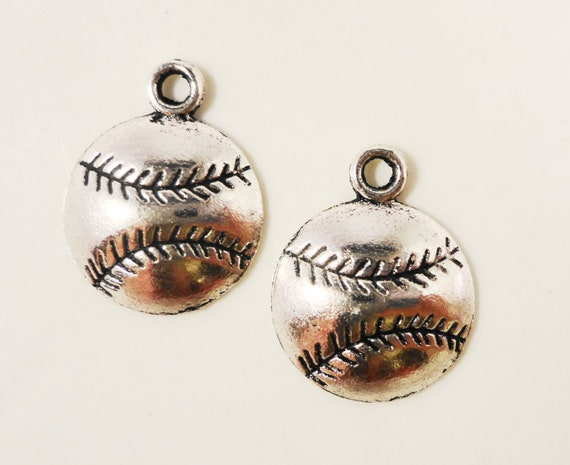 Silver Baseball Charms 18x14mm Antique Silver Baseball Pendants, Softball Charms, Sport Charms, Metal Charms, Jewelry Charms, Supplies, 10pc
