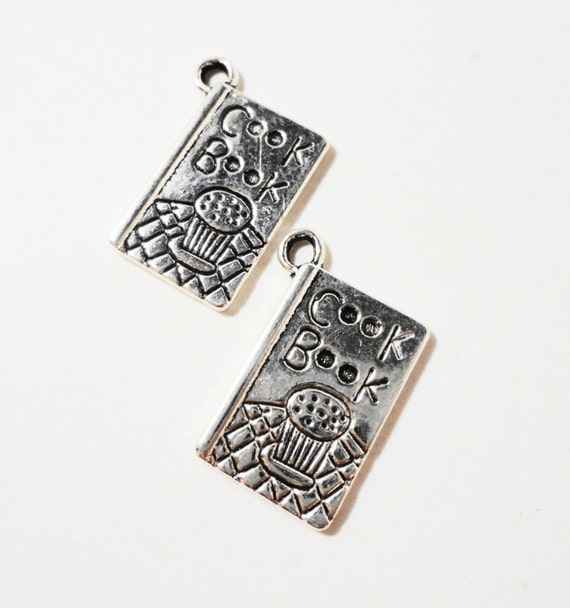 Silver Cookbook Charms 19x11mm Antique Silver Metal Cook Book Charms Cookbook Pendants Cooking Recipe Charm Chef Charm Jewelry Making 10pcs