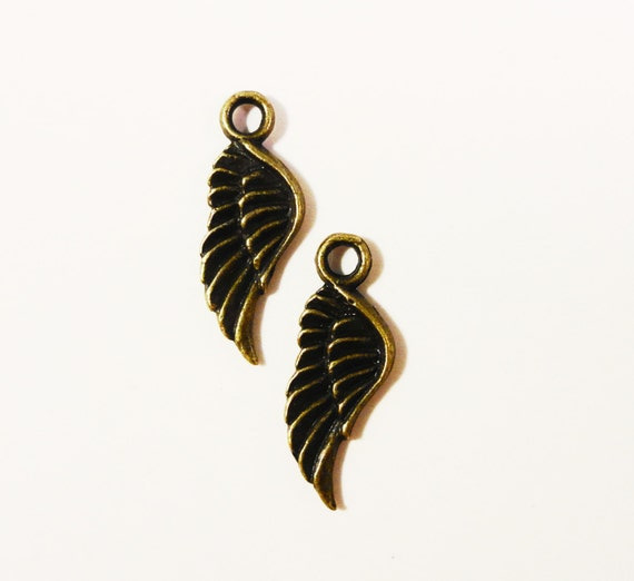Bronze Wing Charms 21x8mm Antique Brass Metal Feather Charms, Wing Pendants, Double Sided Charms, Jewelry Making, Jewelry Findings 10pcs