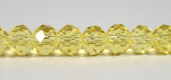 Rondelle Crystal Beads 6x4mm (4x6mm) Lemon Yellow Faceted Chinese Crystal Glass Beads for Jewelry Making on a 9 Inch Strand with 49 Beads