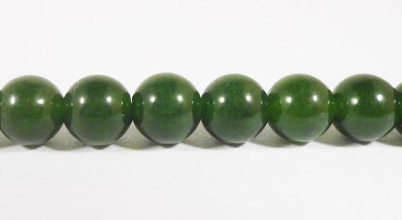 "Jade Stone Beads 6mm Round Dark Forest Green Jade Gemstone Beads Dyed Candy Jade Beads Mountain Jade Beads on a 7 1/2"" Strand with 31 Beads"