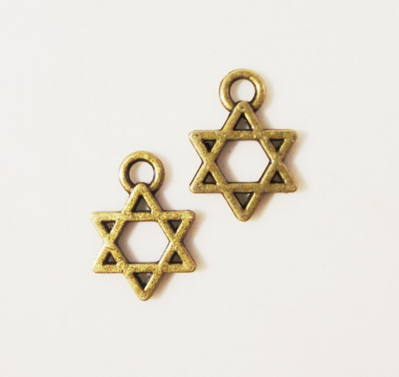 Bronze Star Charms 13x9mm Antique Brass Tone Metal (Bronze) Star of David Small Religious Charm Pendant Jewelry Findings 15pcs